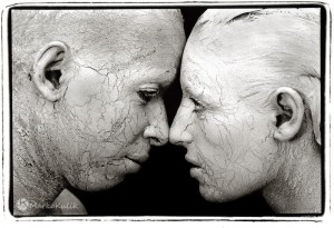 Face to Face Statues - Black and white photograph